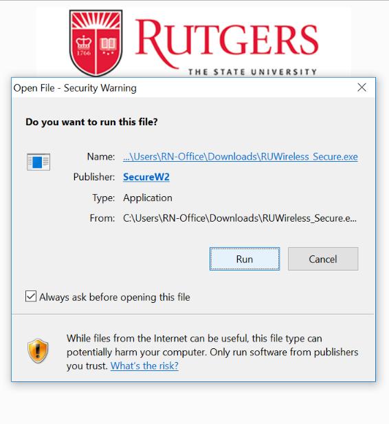 Windows SecureW2 app run prompt