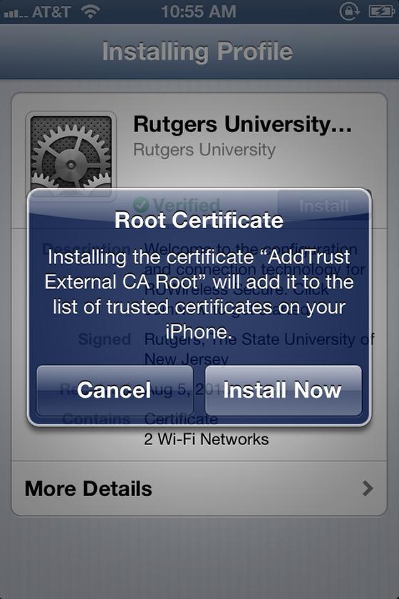 iOS RUWireless Secure certificate screen