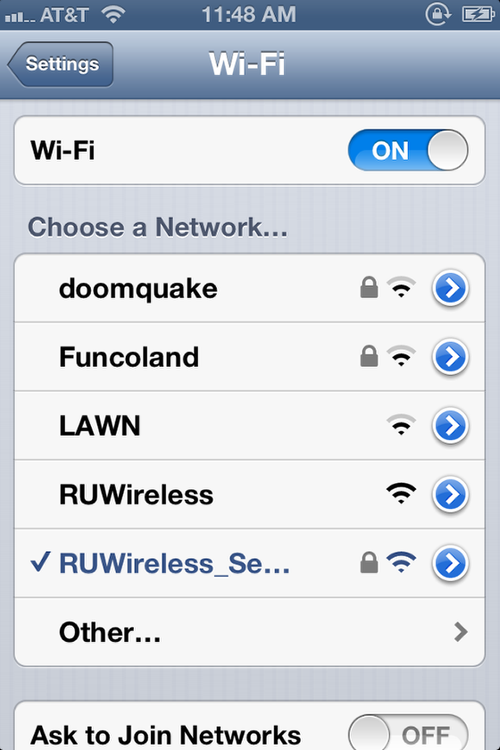 iOS wifi screen, connected to RUWireless Secure