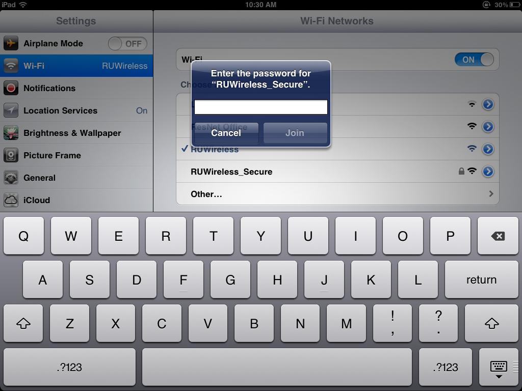 iOS RUWireless Secure incorrect password popup
