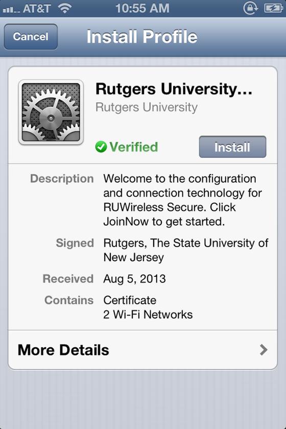 RUWireless Secure install profile screen