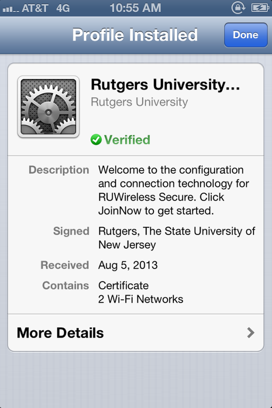 iOS RUWireless Secure profile installed screen