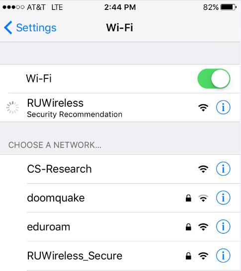 iOS wifi selection screen