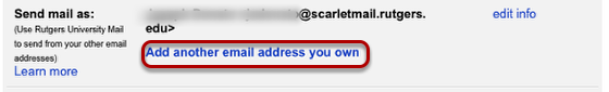 Add another email address you own button