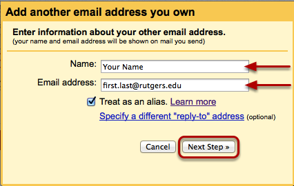 Fill in your Name and email address and check treat as an alias