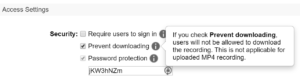 Access settings screen shot