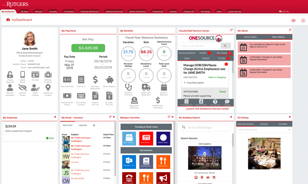 myRutgers dashboard for faculty and staff